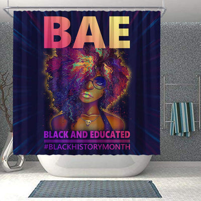 BigProStore Nice BAE Black And Educated #Blackhistorymonth African American Print Shower Curtains Afrocentric Bathroom Decor BPS049 Shower Curtain