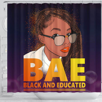 BigProStore Nice BAE Black And Educated Afro Lady African American Themed Shower Curtains Afro Bathroom Decor BPS051 Shower Curtain