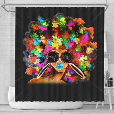 BigProStore Nice Black Girl Colorful Art African American Art Shower Curtains Afro Bathroom Decor BPS075 Small (165x180cm | 65x72in) Shower Curtain