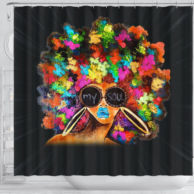 BigProStore Nice Black Girl Colorful Art African American Art Shower Curtains Afro Bathroom Decor BPS075 Shower Curtain