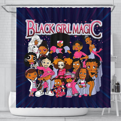 BigProStore Nice Black Girl Magic Cartoon Afro Girls Afrocentric Shower Curtains Afro Bathroom Accessories BPS079 Small (165x180cm | 65x72in) Shower Curtain