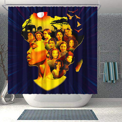 BigProStore Nice Famous Pro Black Women Afro Girls African American Themed Shower Curtains African Bathroom Decor BPS115 Shower Curtain