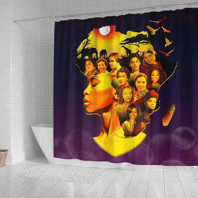 BigProStore Nice Famous Pro Black Women Afro Girls Afrocentric Shower Curtains Afro Bathroom Decor BPS115 Small (165x180cm | 65x72in) Shower Curtain