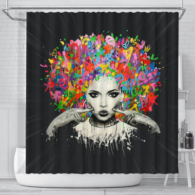 BigProStore Nice Melanin Woman Colorful Natural Hair Shower Curtains African American Afrocentric Bathroom Decor BPS169 Small (165x180cm | 65x72in) Shower Curtain