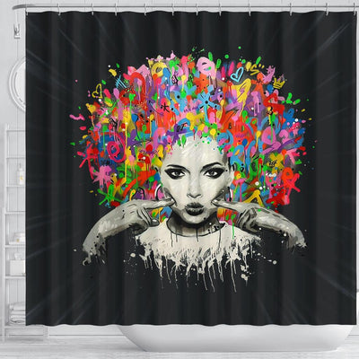 BigProStore Nice Melanin Woman Colorful Natural Hair Shower Curtains African American Afrocentric Bathroom Decor BPS169 Shower Curtain