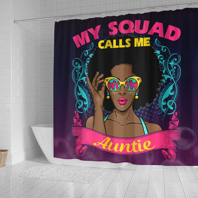 BigProStore Nice My Squad Calls Me Auntie Afro Girl African Style Shower Curtains Afro Bathroom Accessories BPS176 Small (165x180cm | 65x72in) Shower Curtain