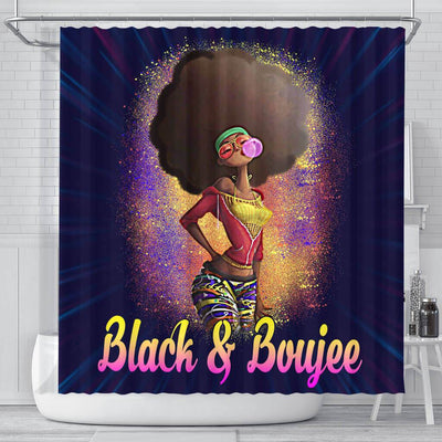 BigProStore Nice Natural Black And Boujee Girl Bubble Gum African American Themed Shower Curtains Afro Bathroom Decor BPS179 Small (165x180cm | 65x72in) Shower Curtain