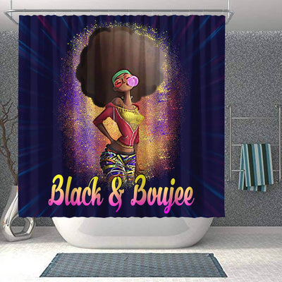 BigProStore Nice Natural Black And Boujee Girl Bubble Gum African American Themed Shower Curtains Afro Bathroom Decor BPS179 Shower Curtain