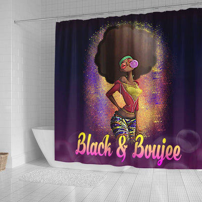 BigProStore Nice Natural Black And Boujee Girl Bubble Gum Black African American Shower Curtains Afro Bathroom Accessories BPS179 Small (165x180cm | 65x72in) Shower Curtain
