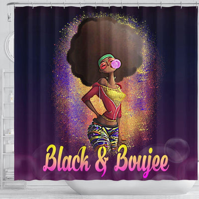 BigProStore Nice Natural Black And Boujee Girl Bubble Gum Black African American Shower Curtains Afro Bathroom Accessories BPS179 Shower Curtain