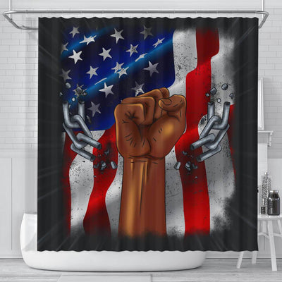 BigProStore Nice Pro Black Pride US Flag African American Inspired Shower Curtains Afro Bathroom Accessories BPS198 Small (165x180cm | 65x72in) Shower Curtain