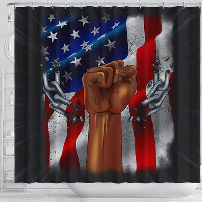 BigProStore Nice Pro Black Pride US Flag African American Inspired Shower Curtains Afro Bathroom Accessories BPS198 Shower Curtain