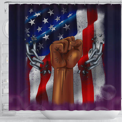 BigProStore Nice Pro Black Pride US Flag African American Print Shower Curtains African Style Designs BPS198 Shower Curtain