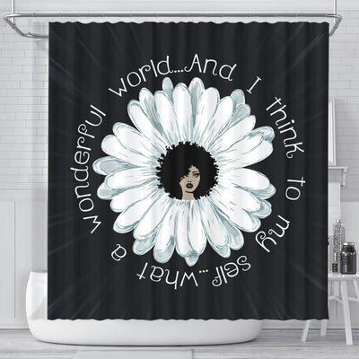 BigProStore Nice What A Wonderful World And I Think To My Self Natural Girl Black History Shower Curtains Afro Bathroom Decor BPS234 Small (165x180cm | 65x72in) Shower Curtain