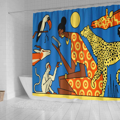 BigProStore Pretty African American Art Shower Curtains African Lady Bathroom Decor Accessories BPS0060 Shower Curtain