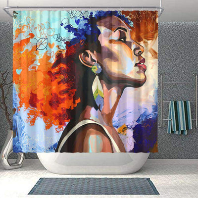 BigProStore Pretty African American Black Art Shower Curtain Melanin Afro Woman Bathroom Designs BPS0139 Small (165x180cm | 65x72in) Shower Curtain