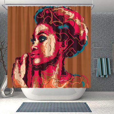 BigProStore Pretty African American Shower Curtains Afro Girl Bathroom Designs BPS0009 Small (165x180cm | 65x72in) Shower Curtain