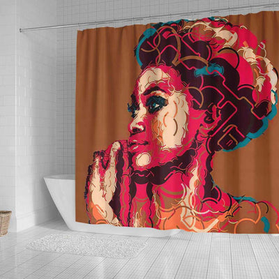 BigProStore Pretty African American Shower Curtains Afro Girl Bathroom Designs BPS0009 Shower Curtain