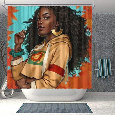 BigProStore Pretty African Print Shower Curtains Black Girl Bathroom Decor BPS0178 Small (165x180cm | 65x72in) Shower Curtain