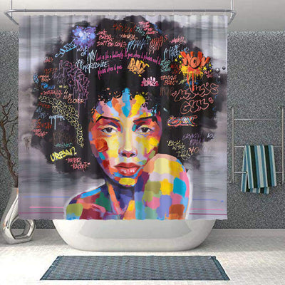 BigProStore Pretty African Style Shower Curtain African Lady Bathroom Accessories BPS0256 Small (165x180cm | 65x72in) Shower Curtain