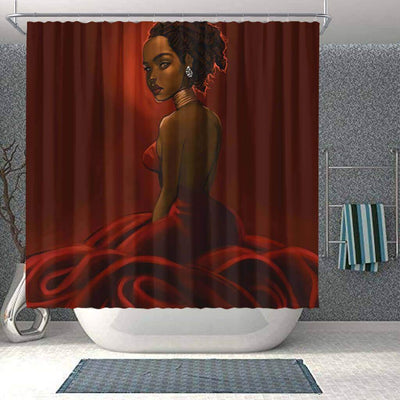 BigProStore Pretty Afro American Shower Curtains Black Queen Bathroom Decor BPS0211 Small (165x180cm | 65x72in) Shower Curtain