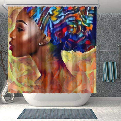 BigProStore Pretty Afro American Shower Curtains Melanin Afro Woman Bathroom Decor Accessories BPS0053 Small (165x180cm | 65x72in) Shower Curtain