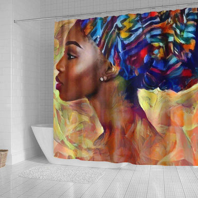 BigProStore Pretty Afro American Shower Curtains Melanin Afro Woman Bathroom Decor Accessories BPS0053 Shower Curtain