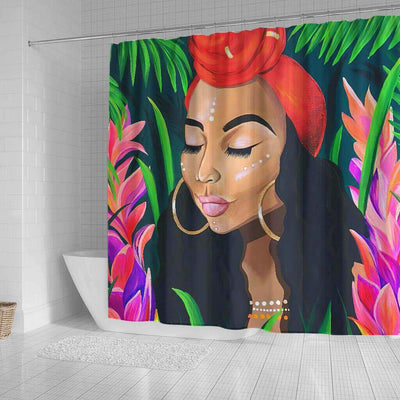BigProStore Pretty Afro American Shower Curtains Melanin Girl Bathroom Designs BPS0105 Shower Curtain