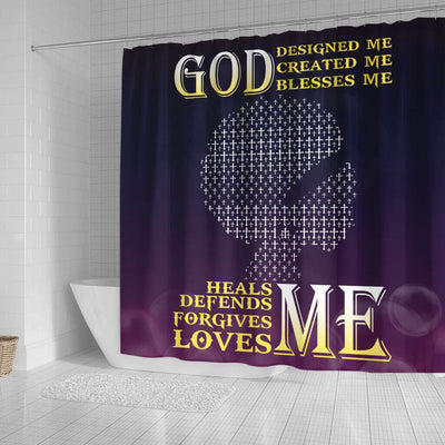 BigProStore Pretty God Designed Created Blessed Heals Defends Forgives Loves Me Girl African American Print Shower Curtains Afrocentric Style Designs BPS123 Small (165x180cm | 65x72in) Shower Curtain