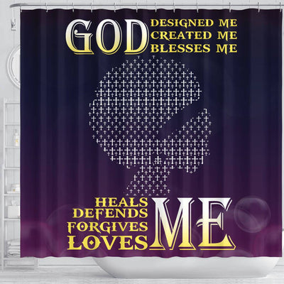 BigProStore Pretty God Designed Created Blessed Heals Defends Forgives Loves Me Girl African American Print Shower Curtains Afrocentric Style Designs BPS123 Shower Curtain