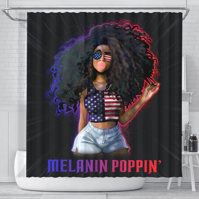 BigProStore Pretty Melanin Popping Fashion Afro Girl African American Print Shower Curtains Afrocentric Bathroom Accessories BPS165 Small (165x180cm | 65x72in) Shower Curtain