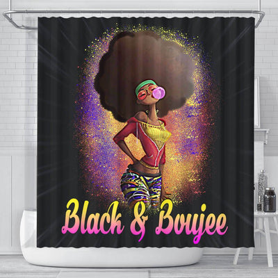 BigProStore Pretty Natural Black And Boujee Girl Bubble Gum Afrocentric Shower Curtains Afrocentric Bathroom Accessories BPS179 Small (165x180cm | 65x72in) Shower Curtain