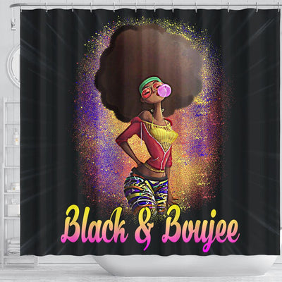 BigProStore Pretty Natural Black And Boujee Girl Bubble Gum Afrocentric Shower Curtains Afrocentric Bathroom Accessories BPS179 Shower Curtain
