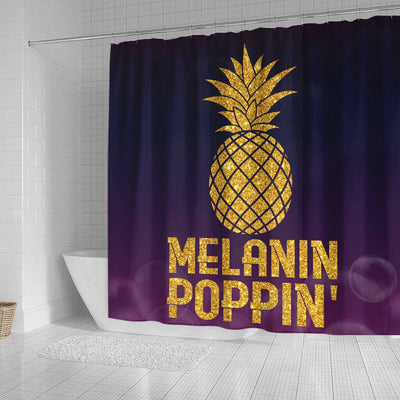 BigProStore Pretty Pineapple Melanin Poppin' Afro American Shower Curtains African Bathroom Decor BPS190 Small (165x180cm | 65x72in) Shower Curtain