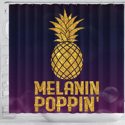 BigProStore Pretty Pineapple Melanin Poppin' Afro American Shower Curtains African Bathroom Decor BPS190 Shower Curtain
