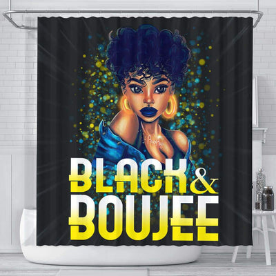 BigProStore Pretty Pretty Afro Girl Black And Boujee African American Bathroom Shower Curtains African Bathroom Decor BPS192 Small (165x180cm | 65x72in) Shower Curtain