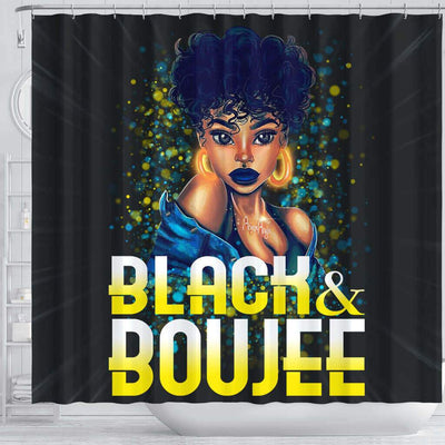 BigProStore Pretty Pretty Afro Girl Black And Boujee African American Bathroom Shower Curtains African Bathroom Decor BPS192 Shower Curtain