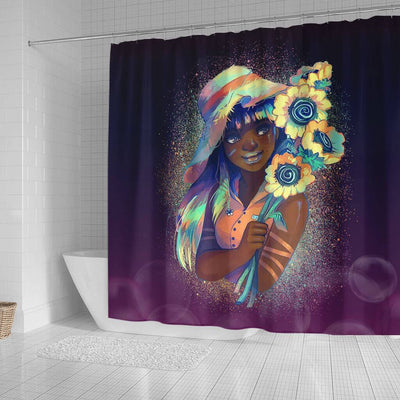 BigProStore Pretty Pretty Black Girl Flower Art Black History Shower Curtains Afro Bathroom Decor BPS193 Small (165x180cm | 65x72in) Shower Curtain
