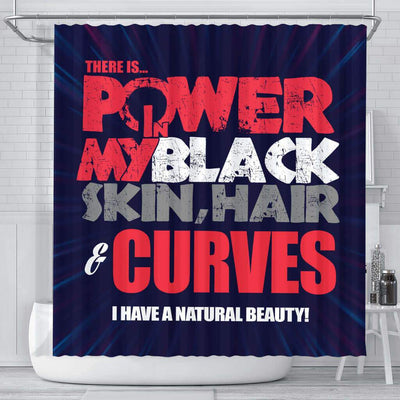 BigProStore Pretty There Is Power In My Black Skin Hair Curves I Have A Natural Beauty Afro American Shower Curtains Afrocentric Bathroom Accessories BPS224 Small (165x180cm | 65x72in) Shower Curtain