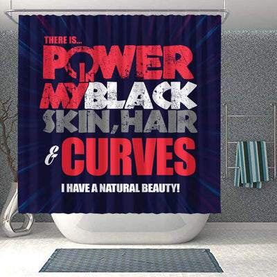 BigProStore Pretty There Is Power In My Black Skin Hair Curves I Have A Natural Beauty Afro American Shower Curtains Afrocentric Bathroom Accessories BPS224 Shower Curtain