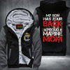 BigProStore Proud Marine Mom Fleece Hoodie My Son Has Your Back USMC Fleece Hoodie BPS360 Gray / S Fleece Hoodie