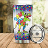 BigProStore Rawr T Rex Dinosaur Autism Awareness Puzzle Piece Tumbler Idea Kid BPS813 White / 20oz Steel Tumbler