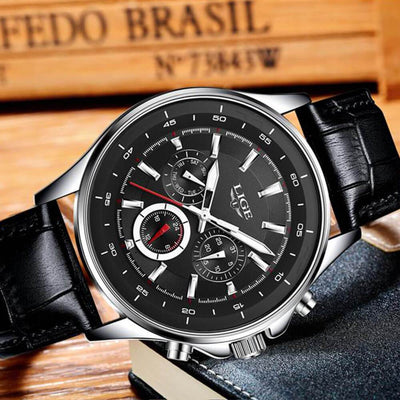 BigProStore Red Firefighter Watch Casual Leather Strap Waterproof Firemen Wristwatch Black Wristwatch