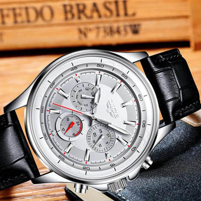 BigProStore Red Firefighter Watch Casual Leather Strap Waterproof Firemen Wristwatch Silver Wristwatch