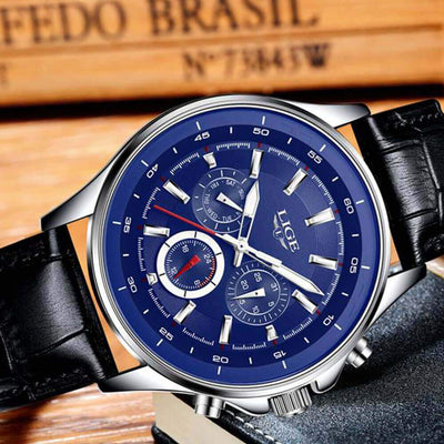 BigProStore Red Firefighter Watch Casual Leather Strap Waterproof Firemen Wristwatch Blue Wristwatch