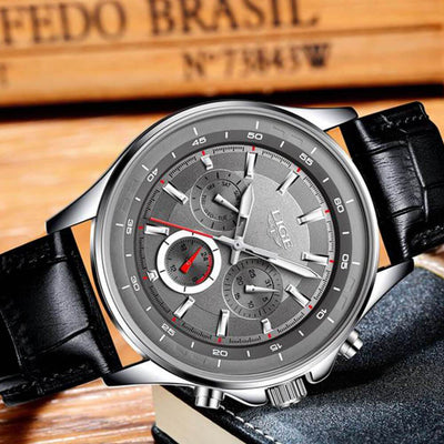 BigProStore Red Firefighter Watch Casual Leather Strap Waterproof Firemen Wristwatch Grey Wristwatch