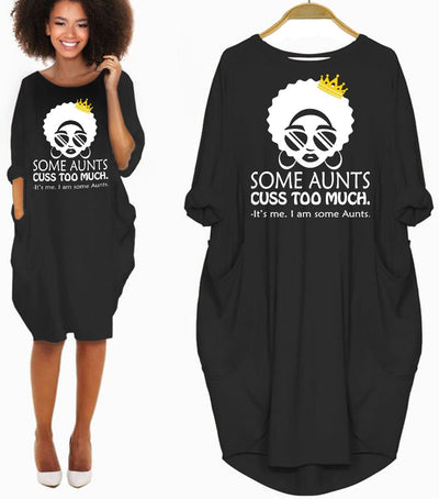 BigProStore African American Dresses Funny Some Aunts Cuss Too Much I'm Some Aunts Melanin Long Sleeve Women Dress Afrocentric Apparel For Her Black History Gift Black / S Women Dress
