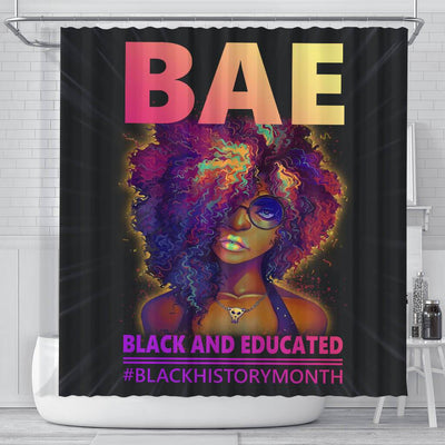 BigProStore Trendy BAE Black And Educated #Blackhistorymonth Black African American Shower Curtains Afro Bathroom Accessories BPS049 Small (165x180cm | 65x72in) Shower Curtain