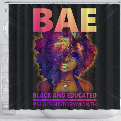 BigProStore Trendy BAE Black And Educated #Blackhistorymonth Black African American Shower Curtains Afro Bathroom Accessories BPS049 Shower Curtain