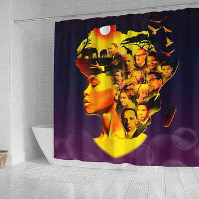 BigProStore Trendy Beatiful Afro Girl Famous Pro Black Art Afro American Shower Curtains African Bathroom Accessories BPS055 Small (165x180cm | 65x72in) Shower Curtain